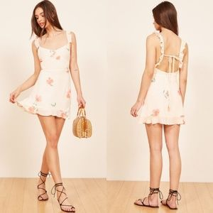Reformation Ruffled Floral Low Back Mini Dress